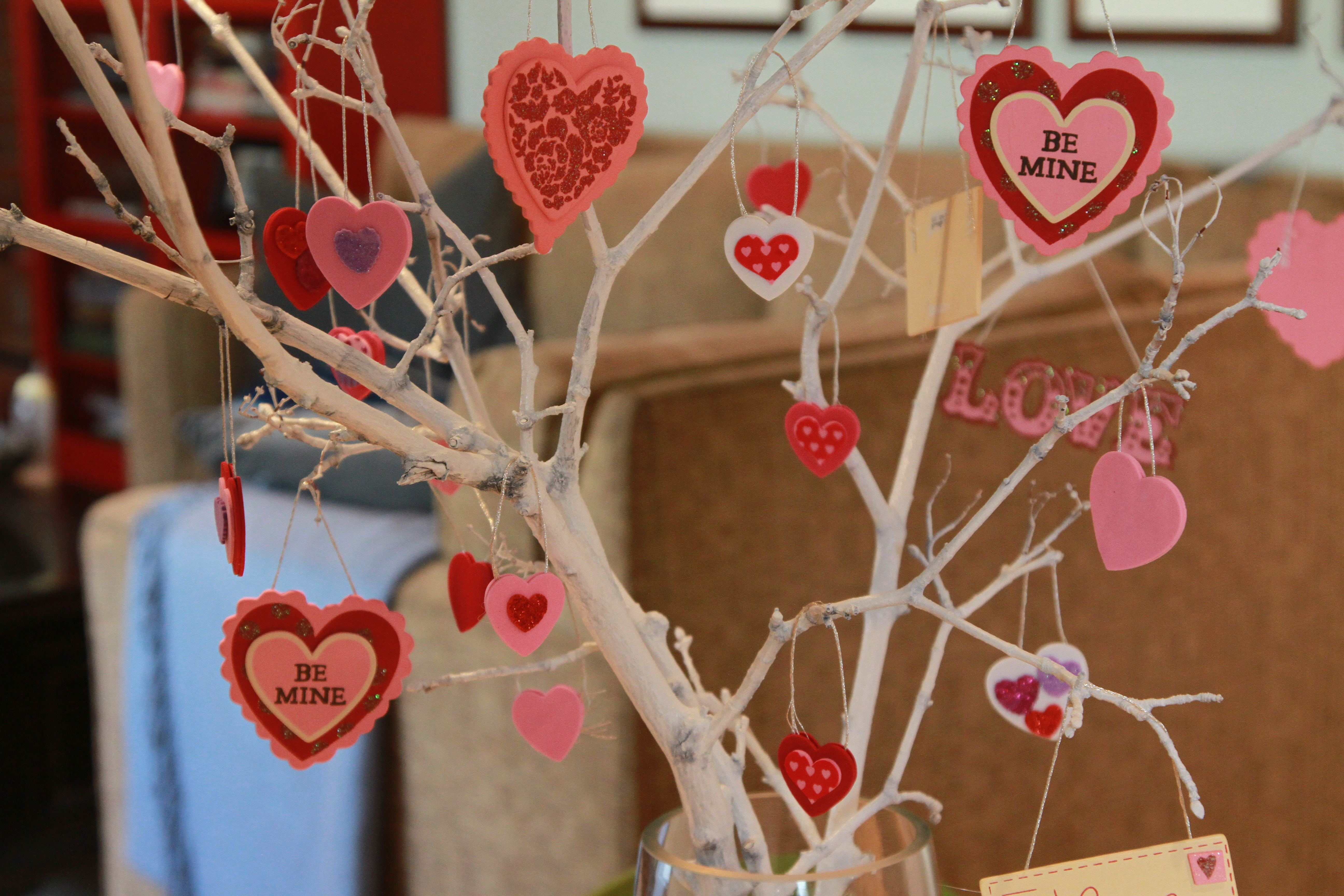 Valentine tree ornaments - I Cut Some Branches From A Tree In My Backyard And Spray Painted Them White Then I Went Down To Micheals And Bought A Package Of Foam Hearts That Were All